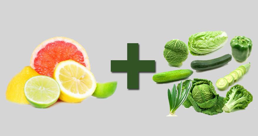 06 Combinações de alimentos que ajudam a melhorar sua saúde [frutas vit. c + vegetais verdes]